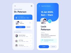 Doctor Appointments App designed by Alex Arutuynov 🤘 for Orizon: UI/UX Design Agency. Connect with them on Dribbble; the global community for designers and creative professionals. App Ui Design, Mobile App Design, User Interface Design, Mobile Ui, Flat Design, Android App Design, Identity, App Design Inspiration, Health App