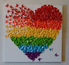 3D Rainbow butterfly art, rainbow butterfly, nursery decor, heart art, baby art, butterfly heart, mosaic, gay pride, Rainbow, pride, 20x20 by theshabbylamb on Etsy  Gay pride, love, equality