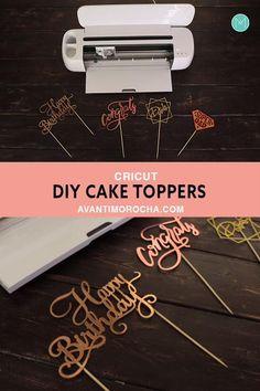 Cricut Explore Projects, Cricut Project Ideas, Cricut Vinyl Projects, Diy Cake Topper, Cake Toppers, Cake Topper Tutorial, Proyectos Cricut Explore, Vinyle Cricut, Merci Marie