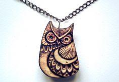 Owl Necklace, Owl pendant, Carved wood Owl, woodburning, Owl Jewelry, Nature, pyrography jewelry, wooden, woodland, wildlife, hippie, uk by GlenoutherCrafts on Etsy https://www.etsy.com/listing/223730636/owl-necklace-owl-pendant-carved-wood-owl