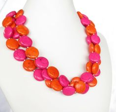 Hot Pink  Orange Turquoise Necklace - Fuchsia Statement Necklace - Summer Jewelry - Hot Pink and Orange Necklace - Fashion Trend 2013