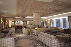 Lounge - Hotel de Rougemont - By Plusdesign, architects Claudia Sigismondi & Andrea Proto At The Hotel, Hotel Deals, Spa, Lounge, Architecture, Table, Room, Furniture, Europe