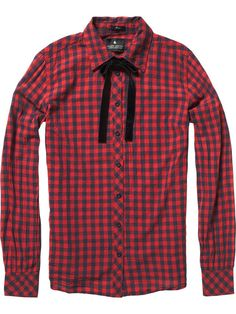 Checkered western shirt with bow clip by Maison Scotch