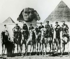 Winston Churchill, T. Lawrence, Gertrude Bell, and members of Cairo conference 1921 visiting the Pyramids of Giza, Cairo 1921 Winston Churchill, Gertrude Bell, Lawrence Of Arabia, Pyramids Of Giza, World War One, Cairo, Old Photos, Istanbul, Newcastle University