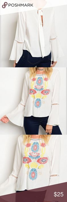 """Embroidered Bell Sleeve Top Pretty and fun bell sleeve top with a rounded neckline and  open inlay design on sleeves. Keyhole back laces at top to complete the look.  100% Rayon   Measurements for size small 21"""" B: 40"""" W: 38""""  🚫Trades✅Bundle and save Fresh Fashion Boutique Tops Blouses"""