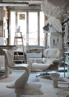 Eames in all white interior