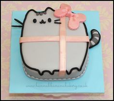 ♡♡♡♡♡♡♡ I want this cake now! Pretty Cakes, Cute Cakes, Beautiful Cakes, Amazing Cakes, Pusheen Cakes, Pusheen Birthday, Present Cake, Anime Cake, Cat Party