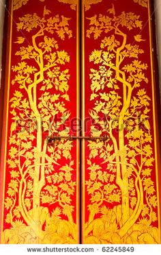 traditional thai style painting on temple door & Thai doors ivy pattern | SOUTHEAST ASIA STYLE 东南亚风格 ... Pezcame.Com