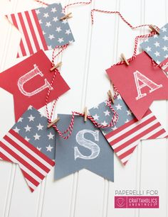 Print off this free patriotic banner for the cutest patriotic decor all summer long! Fourth Of July Decor, 4th Of July Fireworks, 4th Of July Celebration, 4th Of July Decorations, 4th Of July Party, July 4th, Patriotic Crafts, Patriotic Party, July Crafts