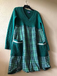 Excited to share this item from my shop: RESERVED.Upcycled Kelly Green Sweater Dress , Loose Fit Thick Cotton Cable Knit Sweater Tunic , Plaid Flannel Shirt Dress ropa Your place to buy and sell all things handmade Kelly Green Sweater, Green Sweater Dress, Shirt Dress, Loose Sweater, Diy Kleidung Upcycling, Diy Clothes Refashion, Shirt Refashion, Refashioned Clothes, Upcycled Clothing