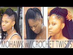 Cornrow Mohawk w/ Crochet Senegalese Twists [video] Cornrow Mohawk, Cornrows, Natural Protective Styles, Natural Hair Styles, Senegalese Twist Crochet Braids, Crochet Twist, Ghana Braids, Crochet Hair Styles, Braid Styles