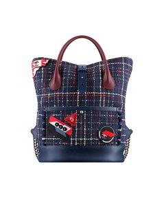 Backpack, tweed, crests & grained calfskin-navy blue & burgundy - CHANEL