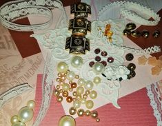 CP-108; Mini Mix of Cream and Gold Colors of Lace, Beads, Paper Flowers, and a Sweet Cream Coolored Triangle Lace Faceted Glass, Glass Beads, Lace Ribbon, Different Textures, Upcycled Crafts, Paper Roses, Cream And Gold, Christmas Goodies, Peach Colors