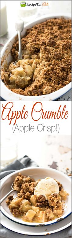 Apple Crumble (Apple Crisp) - Juicy apple filing with a gorgeous CRUNCHY crumbly topping. So easy to make! Best Apple Crumble Recipe, Apple Crisp Recipes, Apple Crumble With Oats, Apple Crumble Topping, Apple Crunch Recipe, Quick Apple Crisp, Apple Cobbler Easy, Healthy Apple Crumble, Fruit Crumble