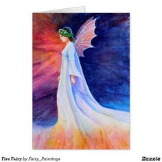 Fairy painting: Watercolor painting of a fire fairy by Rachel Armington. Fairy Paintings, Watercolor Paintings, Fire Fairy, Fairy Gifts, Fairies, Folk, Illustration, Cards, Design