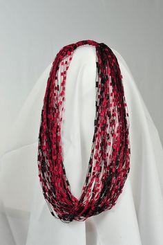 Ladder ribbon yarn free patterns ladder yarn scarf knit scarf gamecock colors trellis yarn necklacescarf by andysfancyneckwear dt1010fo