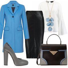 Splendido cappotto azzurro di taglio classico che regala un tocco di vivacità all'outfit. Gonna nera longuette, abbinata a camicia bianca con maniche a campana. Dècolletè grigia, tacco largo alto. Borsa a mano con tracolla, nera, grigia, con profili azzurri. Collana con ciondolo di pietre azzurre.
