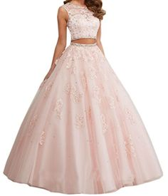 Dreamdre Sheer Lace Beading Two Piece Ball Gown Prom Dres…
