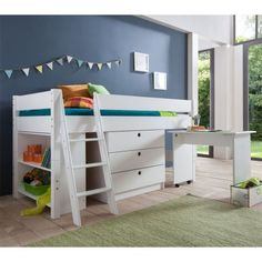 Loft bed with desk Kid Beds, Bunk Beds, Loft Beds, Childrens Beds, Kidsroom, France Photos, To My Daughter, Wall, House