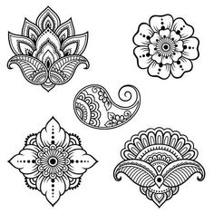 Mehndi,indisch HennaIllustration of vector, clipart and stock vectors Set of Mehndi flower pattern for Henna drawing and tattoo. Decoration in ethnic oriental, Indian style. Image del vettoriali, clipart e vettori stock Set of Doodle Patterns, Henna Patterns, Zentangle Patterns, Flower Patterns, Embroidery Patterns, Mehndi Art Designs, Henna Tattoo Designs, Henna Designs Drawing, Flower Pattern Drawing