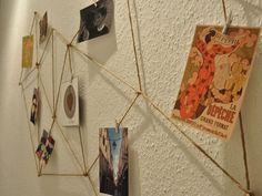 Kostenlose Anleitung: Geometrische Fotowand aus Kordel gestalten / free diy tutorial: geometric photo wall via DaWanda.com