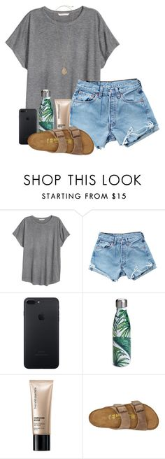"""""""I hate being short"""" by madelyn-abigail ❤ liked on Polyvore featuring H&M, Levi's, S'well, Bare Escentuals, Birkenstock and Kendra Scott"""