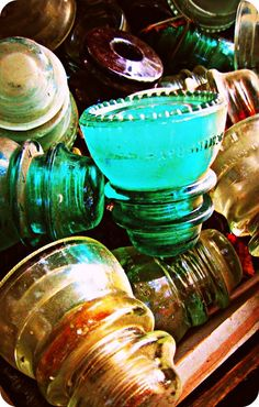 Antique glass insulators.  Oh Daddy, if I could go back in time to our walks in Kentucky......