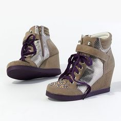 1df68413bca Princess Vera Wang · MY KIND OF SNEAKER WEDGES gt  gt  gt   Purple Taupe Silver Sneaker