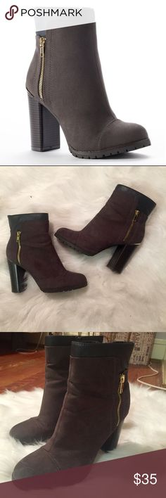 Juicy Couture Booties Brown, black booties with gold details (zipper and trim). Juicy Couture. Worn twice. Still in great condition! Small scratches on heels and sole, but otherwise perfect shape. Size 9. Juicy Couture Shoes Ankle Boots & Booties