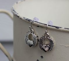 Small Winged Heart Dangle Earring by FoxCharmDesigns on Etsy