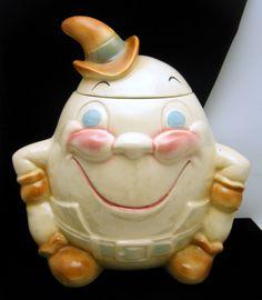 Vintage Brush Pottery Cookie Jar is Humpty Dumpty in Cowboy Garb.