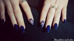 Acrylic nails - England flag nail art Shape: Almond