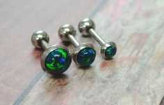 Sapphire Blue Green Fire Opal Stud Cartilage Earring Tragus Helix Piercing You Choose Stone Size on Etsy, $14.00