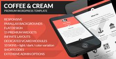 Theme Description:Coffee & Cream Pre Theme  Our Review: Coffee & Cream is a multipurpose blog, portfolio premium WordPress theme. It is a beautiful one page Vcard websites. There are many theme features like: Extensive admin Options: for fine tuning adepts, easy to create One Page websites (do it with widgets), Infinite layouts and more. The Coffee & Cream is a beautiful design and layout, It's prices is $40.