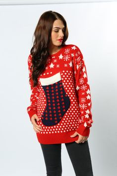 Ditch the handbag and keep your belongings in this fully functioning stocking jumper! Practical and stylish #ChristmasStocking #ChristmasJumper #WomansFashion #GiftIdeas #AdultsClothing #TheChristmasJumperGrotto #Wholesale #Novelty #Festive Novelty Christmas Jumpers, Christmas Sweaters, Christmas Stockings, Festive, Stylish, Womens Fashion, Needlepoint Christmas Stockings, Christmas Jumper Dress, Women's Fashion