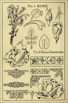 "Rose Patterns in ""Monumental Drawing and Lettering: The Rose in Applied Ornament"" (1926)"