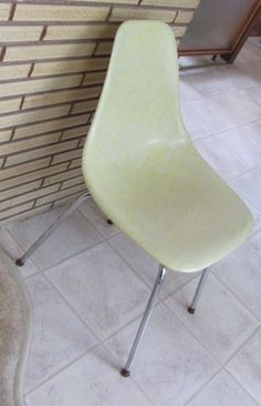 Atomic side chair is a lemon yellow, molded fiberglass - French Toast Kitty on Etsy