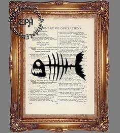 Black Silhouette Fish Skeleton Art - Vintage Dictionary Page Art Print Upcycled Page Print, Fish Print by CocoPuffsArt on Etsy
