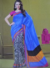 #Blue and #black colour bhagalpuri #silk material #saree #sari