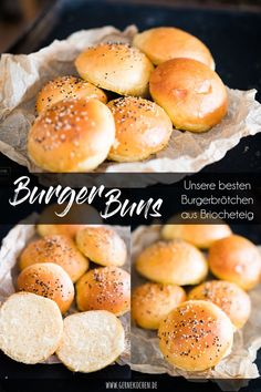 Recipe: burger buns - our best brioche buns - gernekochen.de - Burger buns are as important to a good burger as a good patty. We have created our best buns and pr - Bun's Burger, Mini Burger Buns, Beste Burger, Good Burger, Burger Night, Burger Recipes, Pizza Recipes, Grilling Recipes, Pork Recipes