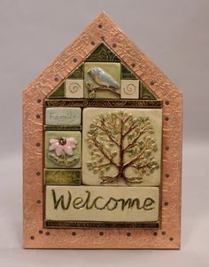 Items similar to Handmade ceramic house shaped welcome tile mural on Etsy House Name Plaques, House Names, Handmade Ceramic, Handmade Gifts, Ceramic Houses, Tile Murals, Welcome, Shapes, Interior Design