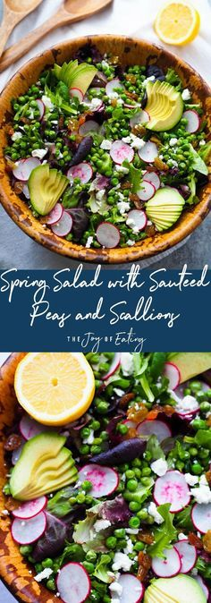 This spring inspired salad is packed with colorful and tasty produce! Spring salad topped with sauteed peas and scallions, golden raisins, avocado and briny feta! #salad #healthyrecipe #spring #seasonal #peas #avocado #feta