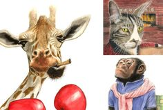 Based out of Edgartown, Kevin McGrath specializes in watercolor & graphite illustrations of animals so domesticated they'd probably carpool with you to work. #art #KevinMcGrath #Boston