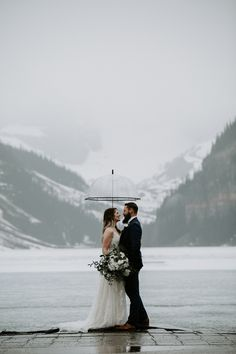 This snowy elopement in Lake Louise was beautiful and romantic. The couple exchanged their vows then did wedding photos at Lake Louise and Moraine Lake. Wedding Couple Photos, Bride And Groom Pictures, Wedding Couples, Outdoor Wedding Inspiration, Wedding Photography Inspiration, Wedding Ideas, Pink Wedding Theme, Dream Wedding, Blush Bouquet