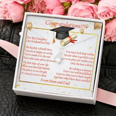 Graduation Gift for Daughter, Daughter Necklace, Daughter Jewelry, Mot – ShineOn Graduation Gifts For Daughter, College Graduation Gifts, Graduation Necklace, Daughter Necklace, Ribbon Design, Father Daughter, Congratulations, Pendant, Crafts