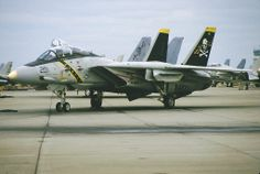 """A U.S. Navy Grumman F-14 Tomcat of the VF-84 squadron, nicknamed """"The Jolly Rogers"""". - Help Us Salute Our Veterans by supporting their businesses at www.VeteransDirectory.com, Post Jobs and Hire Veterans VIA www.HireAVeteran.com Repin and Link URLs"""
