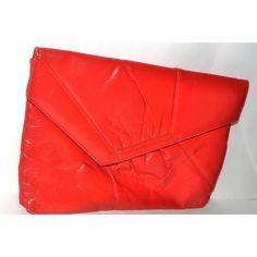 Vintage Red Leather Envelope Clutch Purse