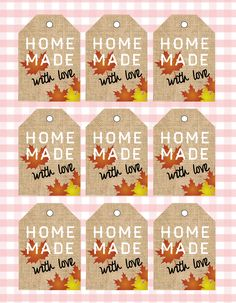 Printable Home made autumn Tags, gift tags, home made Gift Tag, Tags, bakers, printable Tags, kitchen tag, home made autumn by ChloeDrapeauArt on Etsy Printable Tags, Printables, Types Of Printer, Love Home, White Paper, Homemade Gifts, All Design, Gift Tags, Shops