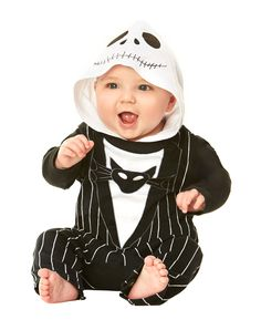 Nightmare Before Christmas Jack Skellington Baby Costume exclusively at Spirit Halloween - Let your little man play the role of Pumpkin King when you dress him in the officially licensed Nightmare Before Christmas Jack Skellington Baby Costume. This black and white stripe one-piece baby snapsuit features an awesome white and black hood with character details. Get this Halloween classic for $24.99