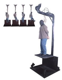 The gallows hanging man animated halloween haunted house prop